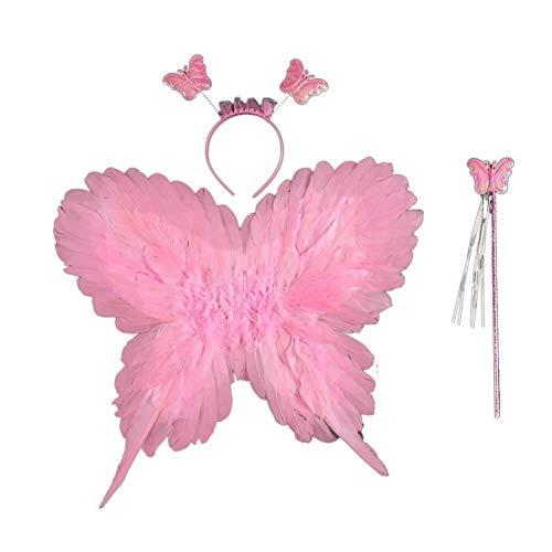 EFINNY Mädchen schmetterlingsfee Kostüm Flügel Stirnband Zauberstab Set (Eine Größe, B-Rosa)