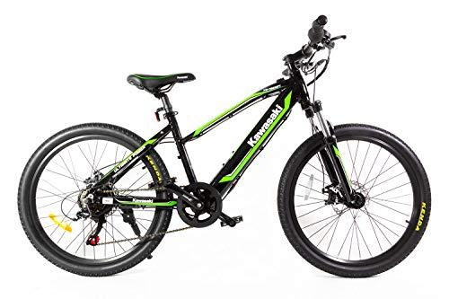 Kawasaki Bicicleta eléctrica para niños, 24 Pulgadas, Verde/Negro, XS