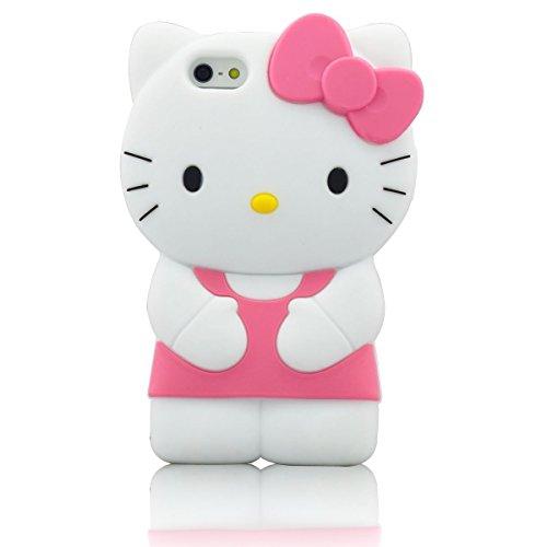 iPhone 6Plus iPhone 6S Plus Fall, Phenix-Color 3D Cute Cartoon Monster Blau Giant Horn Universität Stil Silikon Gummi Fall für iPhone 6S Plus 14cm, Hello Kitty Pink (Iphone Fall 6 Plus Hello Kitty)