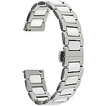 TRUMiRR 18mm cerámica banda de reloj de liberación rápida Correa Todos los enlaces extraíble para Huawei reloj, Huawei Fit Honor S1, Asus ZenWatch 2 WI502Q 2015, Withings Activite / Acero / Pop