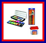 Komplett-Set mit 24 Deckfarbkasten  + Wasserbox & Pinselset ( Tuschkasten )