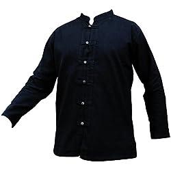 Camisa de la marca Panasiam, modelo Fisherman. 3 colores, 4 tallas: M, L, XL, XXL y XXXL. 100 % algodón natural. Fina, con botones de madera, buena calidad langarm in schwarz XXL