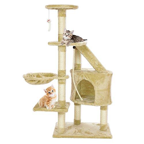Cozy Pet Delux Katzenbaum, Katzenkratzbaum, Katzenbäume, Kratzbaum, 10 Designs erhältlich in Beige & Grau. Entwurf CT03-Beige