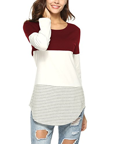 Lylafairy Loose Shirt, Damen Langarm Gestreift Strick Oversize Bluse Langshirt T-Shirt Hemd Oberteil Tops (38, Burgund)