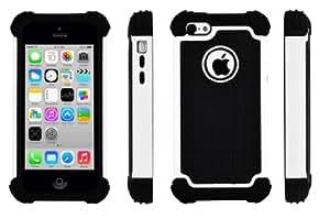 SOOPER White Defender Heavy Duty Protective Hybrid Cover Case For Apple iPhone 5c (White Hybrid )