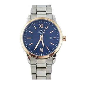 Reloj de pulsera, de la marca Oskar Emil, de acero inoxidable con esfera azul