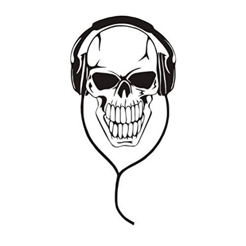 Aushöhlen Musik DJ Schädel Mit Kopfhörer Wandaufkleber Art Vinyl Abnehmbare Wohnzimmer Wohnkultur Wasserdicht 30x59 cm