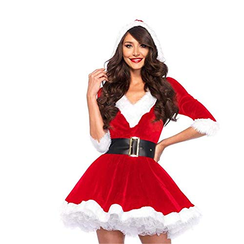 Christmas Dress Frauen Weihnachtskostüm für Erwachsene Red Velvet Fur Kleider Hooded Sexy Female Santa Claus - Red Velvet Kleid Kostüm