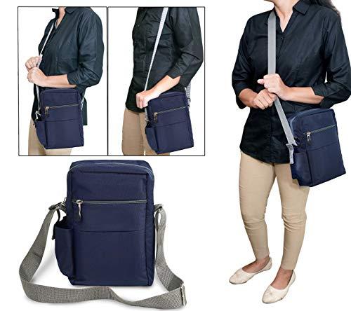SNDIA Men's and Women's Polyester Cross Body Side Sling Shoulder Bag (Blue, 25x16x7.5 cm)