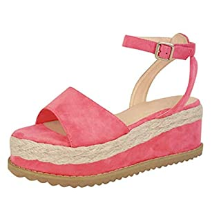 Anglewolf Gladiator Open Peep Toe Sandals Summer Women Ladies Strappy Platform Shoes, Flat Lace Up Slingback Comfy Womens Wedge Pumps Ankle Strap High Heels Party Shoes(Pink,6.5 UK)