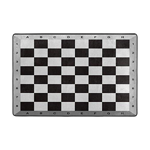 hengpai Dekorieren Schachbrett Bereich Teppiche Schwarz und Weiß Fußmatte Rutschfeste Polyester Wohnzimmer 78,7x 50,8cm, Schwarz, 36 x 24 inch -