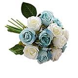 Aiming 12Pcs / Set Rose Tenere i Fiori del Mazzo Cerimonia Nuziale della Sposa Fotografia Props Artificiali Fiori Finti