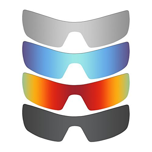 MRY 4 Pairs POLARIZED Replacement Lenses for Oakley Oil Rig Sunglasses-Stealth Black/Fire Red/Ice Blue/Silver Titanium by MRY