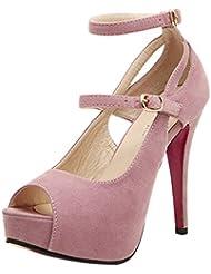 fancystar Mujer Sandalias de plataforma correa de tobillo stiletto tacón alto sandalias