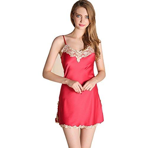 Rainbow Fox 2017 nuovo donne biancheria da notte pigiama pizzo design Raso Abiti Wine