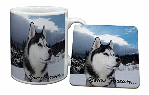 Advanta - Mug Coaster Set Husky-Hund ' Yours Forever' Becher und Untersetzer Tier Gesch Mug Coaster Set