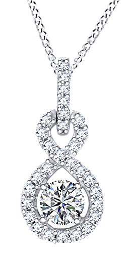 AFFY Herren Damen Unisex Kinder - Gold 9 Karat (375) 10-Karat-Weißgold Rund Diamant