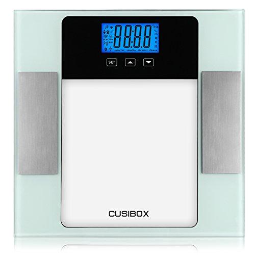 400 Max Speicher (Körperfett, cusibox Digitale Personenwaage Körperfett Ebene Analysegerät mit Step-On-Technik, 180kg/400LB, Maßnahmen Fett, Wasser, BMI, Muskelmasse und Knochenmasse, Kalorien und Gewicht, 10Benutzer Memory Mode)