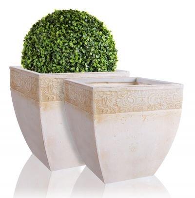 Laius Fibrecotta Square Planters H21cm - Set of