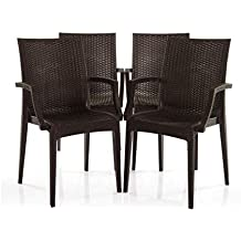 Varmora Designer Club Handle Chair Set of 4 (Brown)