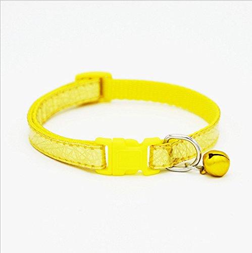 Happy-little-bear Verstellbarer Katzenhalsband mit Bell-Sicherheits-Elastikschnellverschluss-Schnalle für Katzen (Gelb)