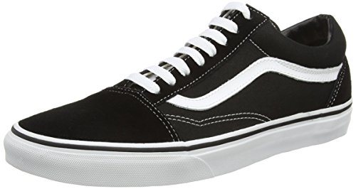 Vans Old Skool Leather Sneaker Unisex Adulto, Nero (Black/White), 43