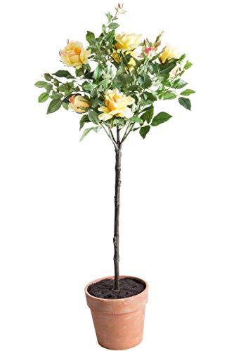 Andreas künstlicher Rosenkugelbaum im terrakottafarbenen Kunststofftopf