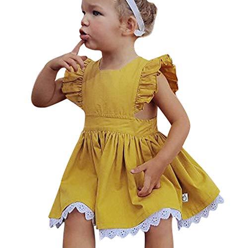 kind Kinder Baby Mädchen Elegant Einfarbig Rüschen Spitze Dünnes Kleid Kleidung Beachwear 0-4 Jahre ()