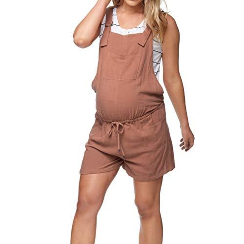 Damen Strampler Umstandshose,Frauen Mutterschaft Baumwolle Taschen ärmellose Lose Kurze Strampler Overall Schwangerschaftshosen Umstandsmode Günstig