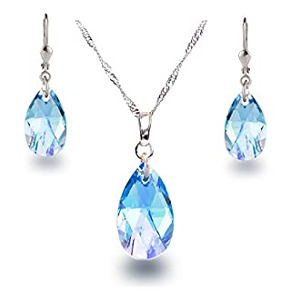 Schöner SD Schmuckset 925 Silber Rhodium Swarovski® Kristall Tropfen Aquamarin blau
