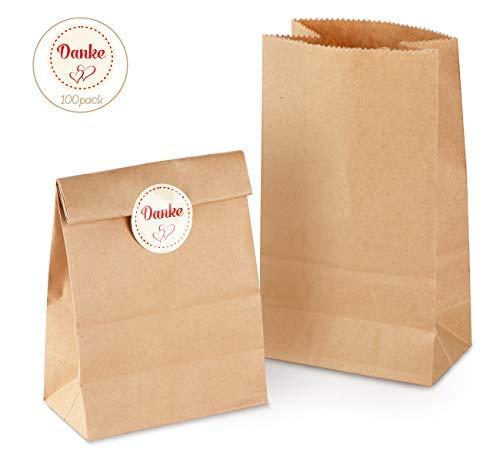 100 Papiertüten Tütchen braune Papier-Beutel mit Boden Mini Geschenktüten 9 x 16 x 5 cm 70 gr./m² Kraftpapier Tüten mit 100 Stück Danke Sticker für Geschenktüten Ostertüten Brote Keks verpacken