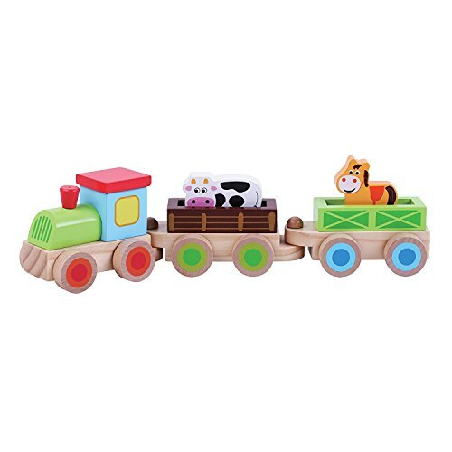 Childrens Wooden Toy Push Along Farm Train with Animals by jumini ®