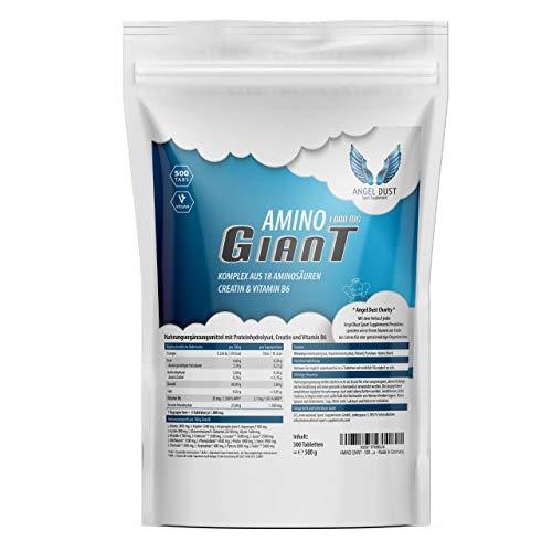 AMINO GIANT - 500 Tabletten a 1000mg Hochdosiert & Vegan - Amino-Komplex aus 18 Aminosäuren inkl. 8 EAA & BCAA + Creatin & Vitamin B6 - Großpackung XXL - Muskelaufbau - Made in Germany -