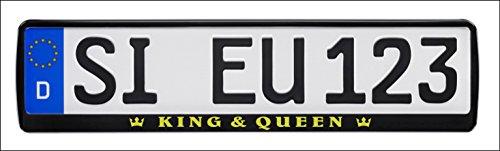 Nashville print factory 1 Paar Kennzeichenhalter mit Motiv KING & QUEEN mit Krone in gold bedruckt Kennzeichenhalterung Kennzeichenrahmen (KING & QUEEN)