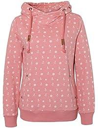 SUBLEVEL Damen Sweathoodie mit allover Anker Steuerrad Print | Sportlicher Kapuzenpullover im Maritimen Look
