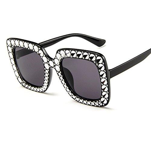 Xiaochou@sl Sonnenbrille Frauen übergroße Crystal Sun über Brille, Quadrat klar (Color : NO.2)