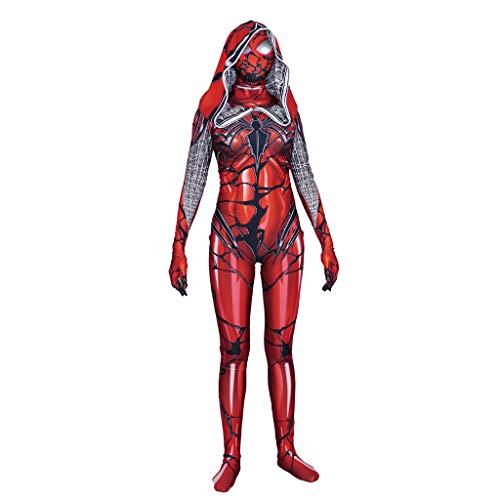 Spider-Man Cosplay Strumpfhosen Venom Roter Mantel Lycra Damen Kleidung Spiel Anime Cosplay Maskerade Spielt Kostüme,Red-S