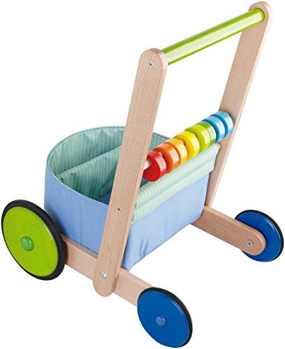 HABA 6432 - Lauflernwagen Farbenspaß, Lauflernhilfe aus Holz und Textil mit bunten Spielelementen, Transportfach für Spielsachen, Bremse und Gummirädern, ab 10 Monaten - 2