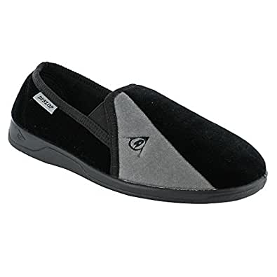 New Mens Dunlop Velour Twin Gusset Slippers Gents Shoes
