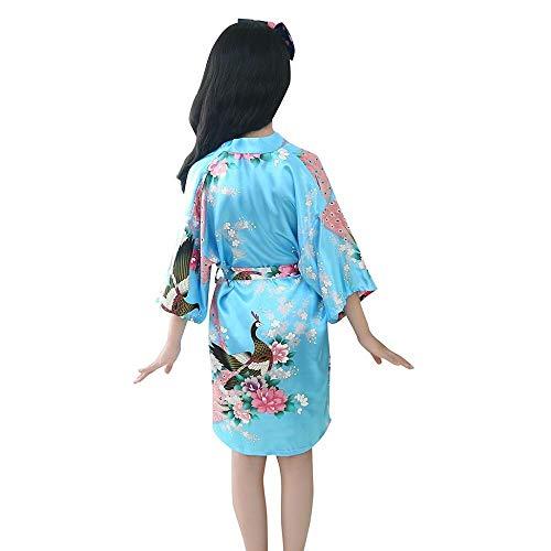 Kleinkind Kinder Mädchen Bademantel Baby Nachtwäsche Kleidung,Tonsee Elegant Blumendruck Silk Satin Kimono Roben Weich Bequem Pyjamas Nachthemd Kleider mit Gürtel (5-7T, Sky Blau)