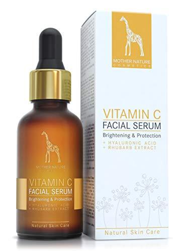 Mother Nature – Vitamin C Serum   30 ml Hochdosiert   Anti-Aging Gesichts- und Hautpflege inkl. Hyaluronsäure und Vitamin E