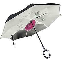 BENNIGIRY Paraguas Reversible Plegable de Doble Capa con Diseño de libélula de Loto, Protección UV Resistente al Viento, Gran Paraguas Recto para Coche ...