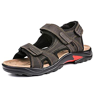a3e18e5b7f0 gracosy Mens Summer Sandals Leather Outdoor Sports Hiking Trekking Sandals  Lightweight Athletic Fisherman Beach Shoes Open Toe Casual Walking ...