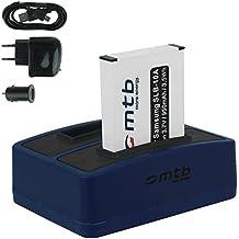 Baterías + Cargador doble (USB/Coche/Corriente) para Samsung SLB-10A / Toshiba Camileo X-Sports / JVC Adixxion / Silvercrest / Medion Action Cam.. v. lista
