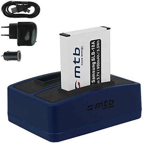 Baterías + Cargador doble (USB/Coche/Corriente) para Samsung SLB-10A / Toshiba Camileo X-Sports / JVC Adixxion / Silvercrest / Medion Action Cam.. v.