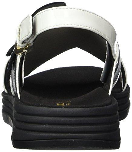 Geox D Koleos F, Sandales Bout Ouvert Femme Noir (Black/white)