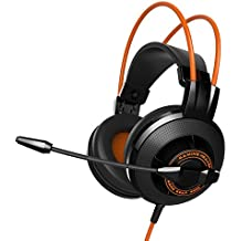 EasyAcc G2 Stereo Gaming Headphones with Omnidirectional Microphone, Cord Control and Adjustable Headpieces for PS4 controller/ PC /Laptop / Tablet / iPhone,Black/Orange