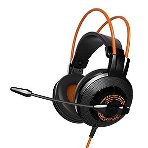 EasyAcc G2 3,5 mm Audio Plug Gaming Headset Kopfhörer mit Mikrofon Kabelfernbedienung und Einstallbaren Ohrpolstern für PCs, Mac, Handy, Playstation 4 Kontroller, Schwarz/Orange
