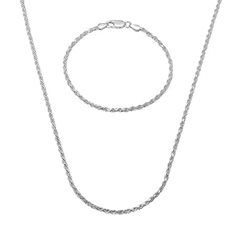 2.2mm 925 Sterling Silver Diamond-Cut Rope 76 cm Chain & 8