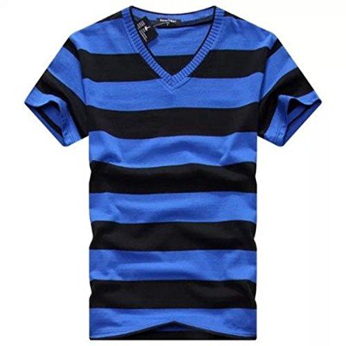 Men's Fashion Striped V-Neck Short Sleeve Tee Shirt V21